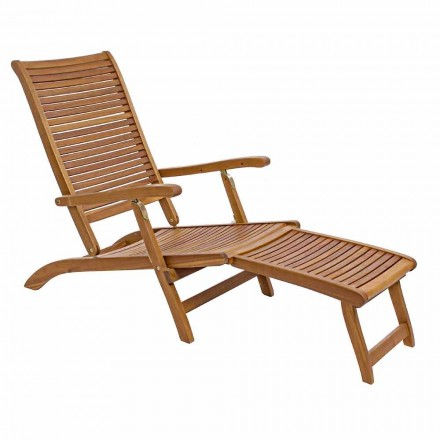 Liggende chaise longue in natuurlijk hout - Roxen