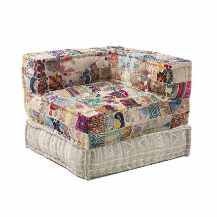 Chaise Longue fauteuil van etnisch ontwerp in patchwork katoen, voor woonkamer - vezel