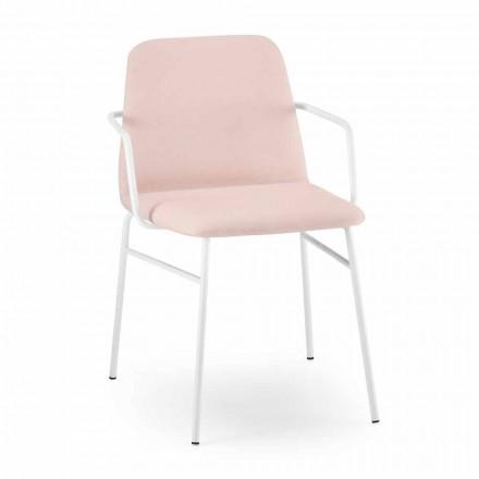 Luxe fauteuil van gekleurde stof met metalen onderstel Made in Italy - Molde