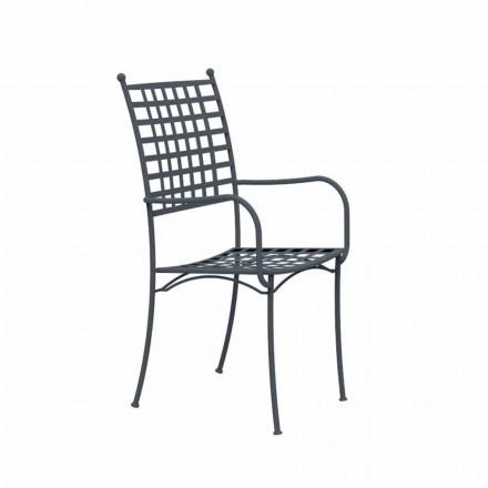 Stapelbare metalen fauteuil voor buiten, gemaakt in Italië, 4 stuks - Pira