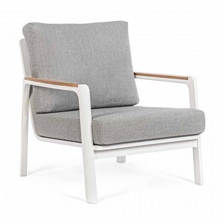 Buitenfauteuil in aluminium, teak en stof, Homemotion, 2 stuks - Cara