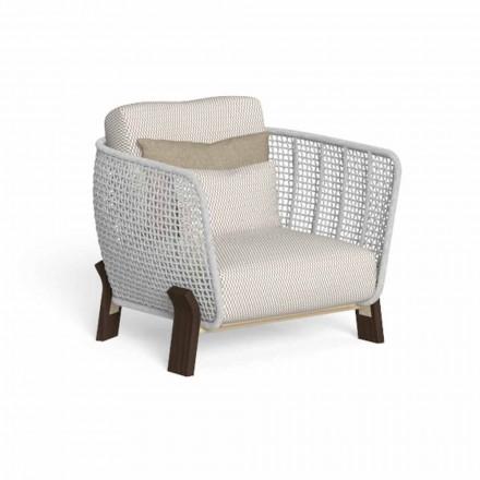 Buitenfauteuil van touw, stof en kostbaar hout - Argo van Talenti