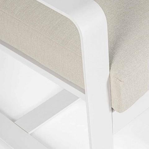 2-delige tuinfauteuil in stof en wit geverfd aluminium - Marianna