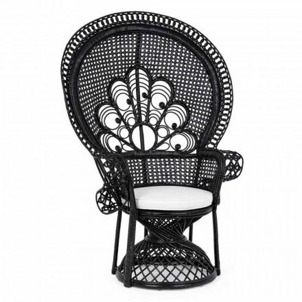 Luxe design tuinzetel voor buiten in zwart rotan - Serafino