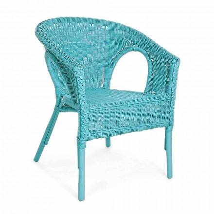 Design stapelbare tuinzetel in wit, blauw of groen rotan - Favolizia