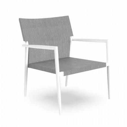 Moderne tuinfauteuil in aluminium en grijs textileen - Adam van Talenti