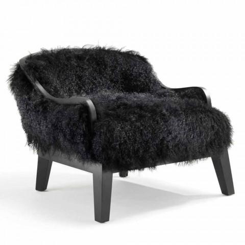 Armchair door lage stoelen in zwart leer en bont, gemaakt in Italië, Eli