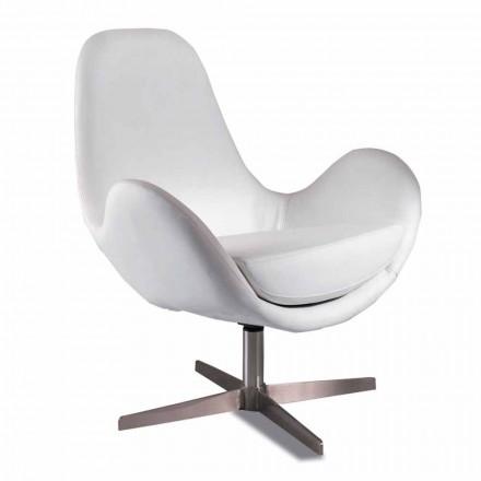 Gestoffeerde en draaibare kunstleer woonkamer fauteuil, modern design - Gajarda