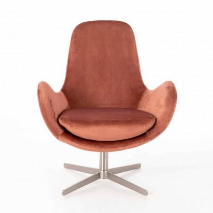 Gewatteerde draaibare lounge fauteuil in fluweel - Gajarda met modern design