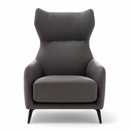 Lederen fauteuil met gelakte metalen poten Made in Italy - walnoot