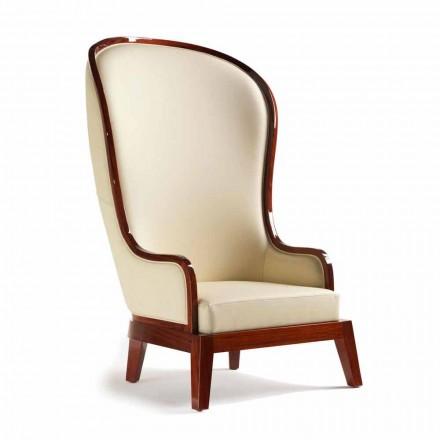 Comfortabele fauteuil leer laser decoratie, made in Italy, Eli