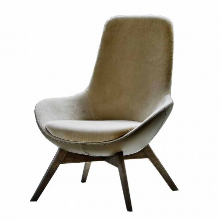 Woonkamer fauteuil in leer en stof met houten onderstel Made in Italy - Ama
