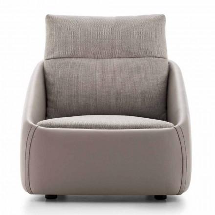 Woonkamer fauteuil in hoogwaardig leer en stof Made in Italy - Amarena