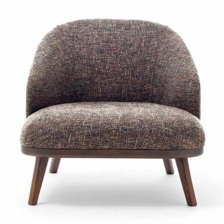 Stoffen fauteuil met massief houten onderstel Made in Italy - Pepina