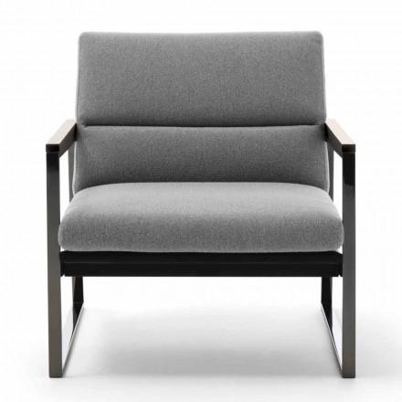 Woonkamer fauteuil in stof, leer en edelmetaal Made in Italy - Milla