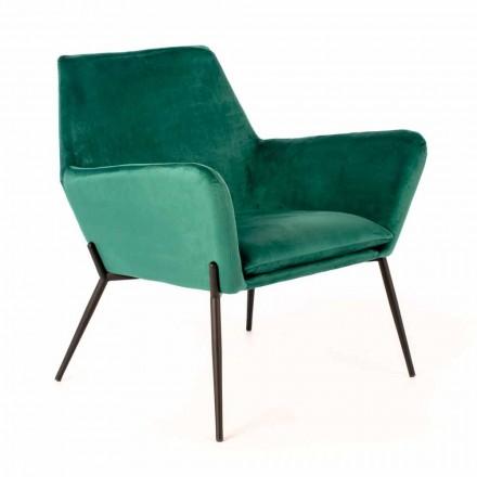 Moderne loungestoel in petrolgroen fluweel en zwart metaal - afgezwakt