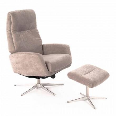 Liggende fauteuil met voetsteun bekleed met fluweel - Angelina