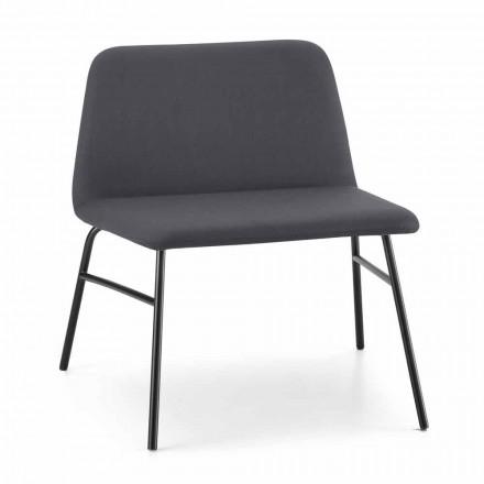 Hoge kwaliteit woonkamer fauteuil in stof en metaal Made in Italy - Molde