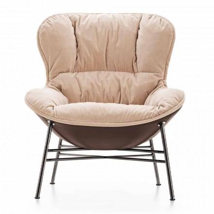Woonkamer fauteuil in leer en stof met verchroomd onderstel Made in Italy - Lychee