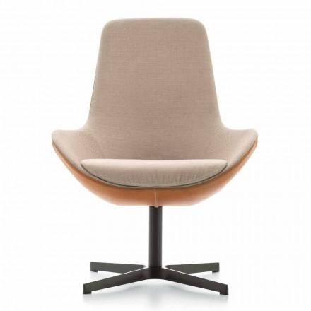 Woonkamer fauteuil in leer en stof met draaivoet Made in Italy - Ama
