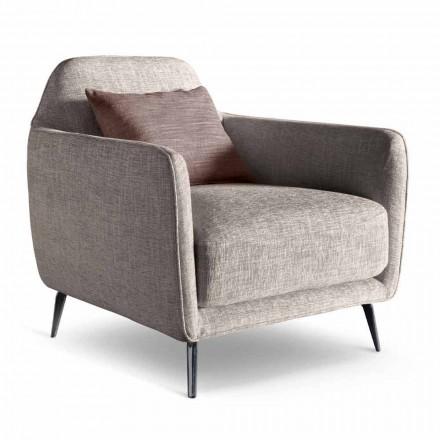 Woonkamer fauteuil in stof met metalen poten Made in Italy - kersen