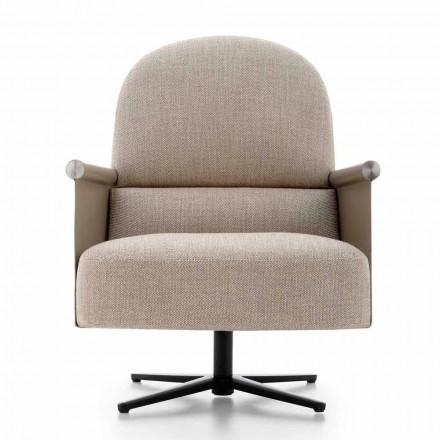 Woonkamer fauteuil in stof, leer en metaal Made in Italy - Camomilla