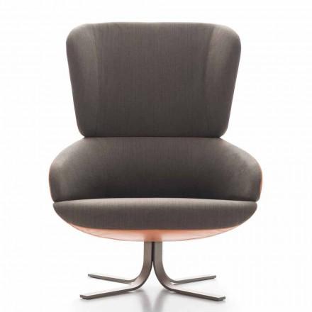 Woonkamer fauteuil in stof en leer met draaivoet Made in Italy - Liana
