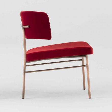 Woonkamer fauteuil in fluweel met metalen structuur Made in Italy - Alaska
