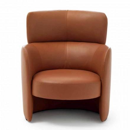Woonkamer fauteuil bekleed met hoge kwaliteit Made in Italy leer - Mango