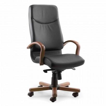 Directionele bureaustoel met voet en armleuning in beukenhout - Savino