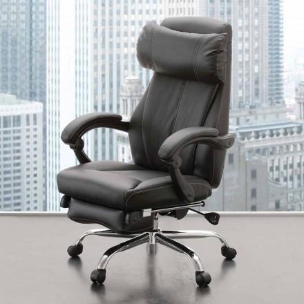 Roterende en liggende kantoorleunstoel in zwart Eco-leer - Nazzareno