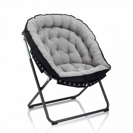 Design fauteuil in lichtgrijs fluweel met zwart metalen structuur - Tronia