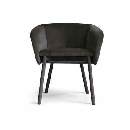 Fluwelen fauteuil van hoge kwaliteit met onderstel van beukenhout Gemaakt in Italië - Bergen