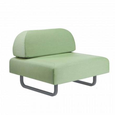Design fauteuil voor buiten in metaal en stof Made in Italy - Selia