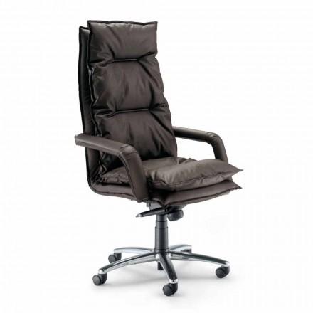 Directionele designlederen fauteuil gemaakt in Italië Gemma