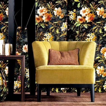 Design fauteuil in gewatteerde stof Grilli Kipling gemaakt in Italië