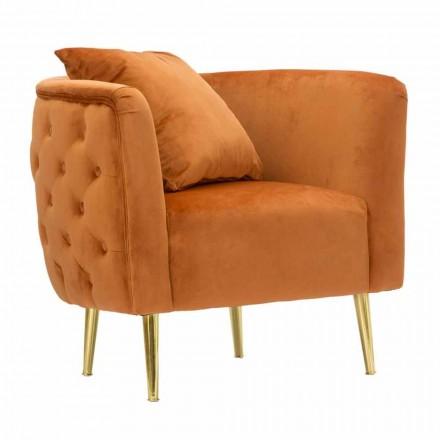 Moderne design fauteuil van fluweel, hout en ijzer - Ruthie