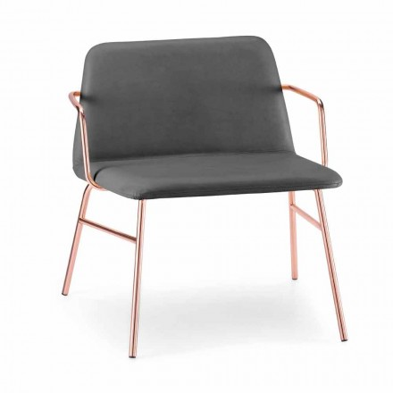 Luxe fluwelen fauteuil met metalen structuur Made in Italy - Molde