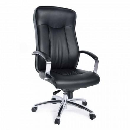Directionele kantoor roterende fauteuil in lederen en metalen onderstel - Virone