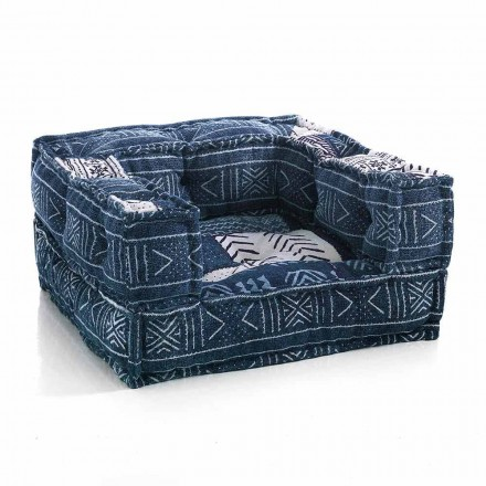 Etnische lounge fauteuil in patchworkstof of fluweel - vezel