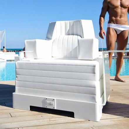 Drijvende leunstoel Trona wit ontwerp Luxe, made in Italy
