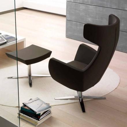 Eco-lederen fauteuil met draaibare verchroomde of zwarte voet - Clio