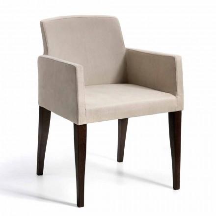 Omega modern design faux lederen en houten fauteuil, gemaakt in Italië