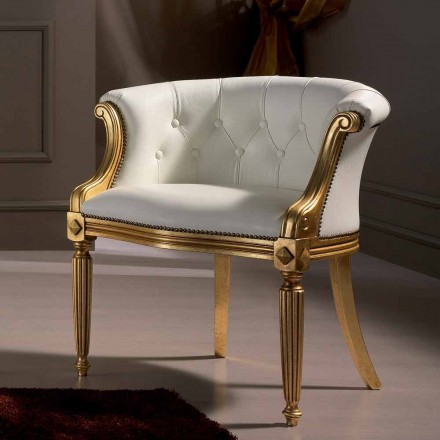 Witte lederen fauteuil Casanova, klassiek design made in Italy
