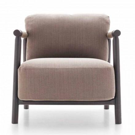 Stoffen fauteuil met onderstel van essenhout en leer Made in Italy - Guava