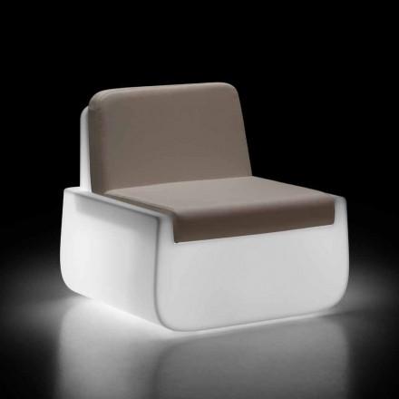 Lichtgevende buitenfauteuil in polyethyleen met kussen Made in Italy - Belida