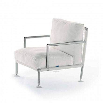 Moderne design fauteuil in staal en zwart of wit PVC voor buiten - Ontario2