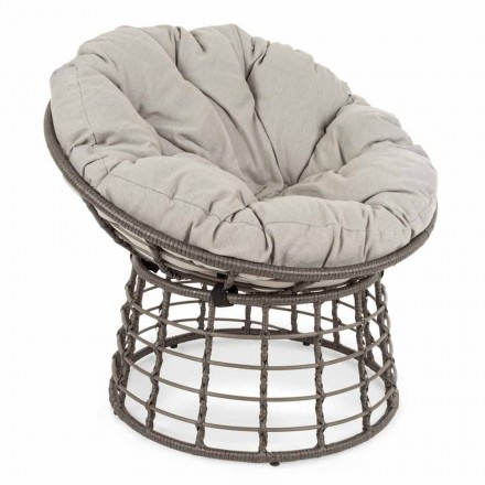 Moderne fauteuil in staal en synthetische vezels met kussens - Moraviglia