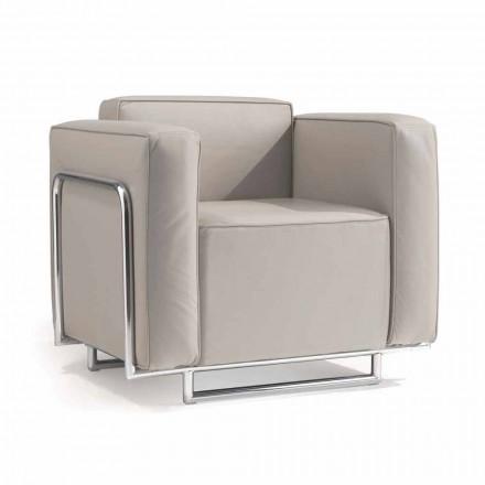 moderne fauteuil in kunstleer en chroom structuur Bugle