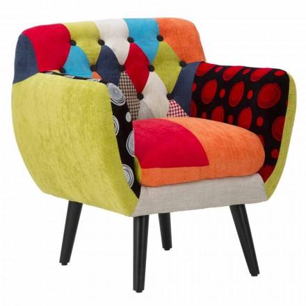 Kleurrijke patchwork moderne design fauteuil in stof en hout - Koria